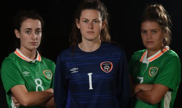 13 October 2016; Roma McLaughlin, Amanda McQuillan and Jamie Finn of Republic of Ireland during an Under 19 squad portrait session at the Maldron Airport Hotel in Dublin. Photo by Cody Glenn/Sportsfile *** NO REPRODUCTION FEE ***